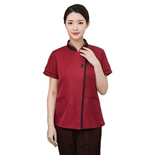 WanYangg Unisex Hotel Berufsbekleidung Atmungsaktiv Kellner uniform mit verdeckten Druckknöpfen Kurzarm Sommer 6#Rot XL