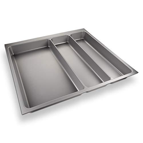 ORGA-Box® II Besteckeinsatz Maxi für Nobilia 60er Schublade (462 x 509 mm Bitte MESSEN SIE Ihr SCHUBLADENINNENMAß!) Silbergrau