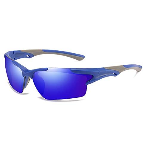 Gafas Deportivas Hombre Gafas de Sol Polarizadas Súper Ligero y Cómodo Anti UVA UV Marco Lente Espejo con Gafas Hombre y Mujer Ciclismo MTB Running Coche Moto Montaña,Azul