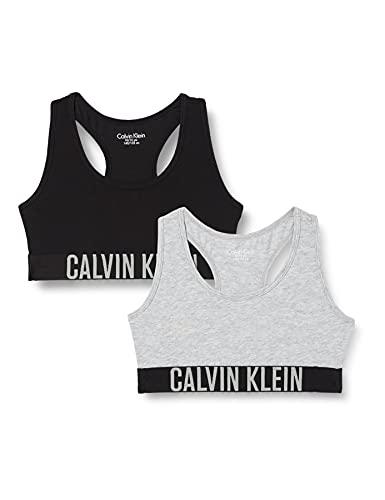 Calvin Klein 2Pk Bralette Sujetadores, 1 Grey Heather/1 Black 029, 12-14 Años (Pack de 2) para Niñas
