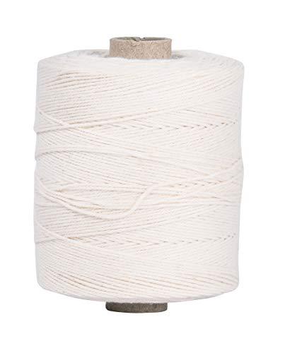 Rayher 7205000 Kettgarn, Rolle 220 m, 1 mm , 6-fädig, weiß, 35% Baumwolle, 65% Polyester, zum Bespannen von Webrahmen, Häkelgarn