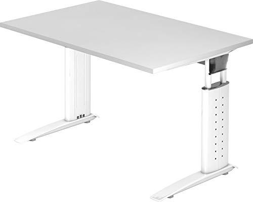 bümö® Schreibtisch höhenverstellbar 68-86 cm | Bürotisch mit Gestell in weiß | höhenverstellbarer Büroschreibtisch | Tisch für's Büro & PC in Top Qualität - Büromöbel (Rechteck: 120 x 80 cm, Weiß)