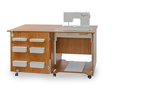 Comfort 1QW | Naaimachine Tafel | Naaimachine Kast | Quilting Patchwork Bureau (Premium White, XL (Air-lift 15 to 20 kg))
