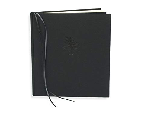 v. transehe design Kondolenzbuch, Gästebuch zur Trauerfeier, schwarzes Leinen Uni mit Prägung Baum, gelblich-weiße Seiten, 36 Blatt, quadratisch, 22 x 24 cm, praktisch mit 2 Lesezeichen