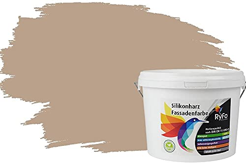 RyFo Colors Silikonharz Fassadenfarbe Lotuseffekt Trend Beige 3l - bunte Fassadenfarbe, weitere Braun Farbtöne und Größen erhältlich, Deckkraft Klasse 1