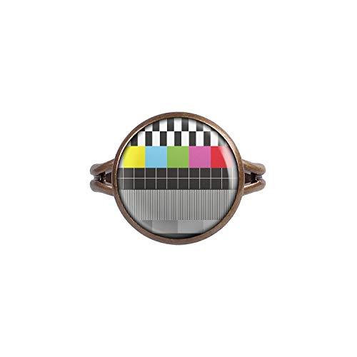 Mylery Ring mit Motiv Test-Bild Fernseher TV Retro 80er 90er bronze 14mm