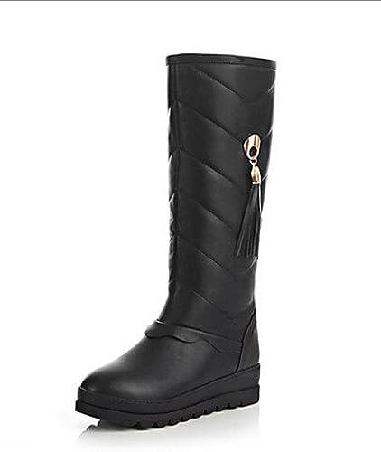 XZZ  zapatos de mujer - Tacón Plano - Punta rojoonda - botas - Casual - Poliéster - negro