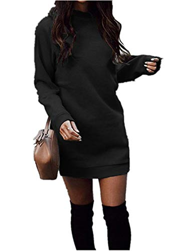 Xuan2Xuan3 Women's Fleece Long Sweatshirt Dress Crewneck Pullover Casual Long Sleeve Bodycon Mini Sweater Dress Black