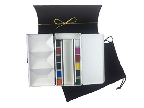 Whiskey Painters Artist Watercolor Art Travel Set of 12 Colors Folding Metal Palette Box Urban Sketchers Travel Set - Hand Made in Italy- Free Water Brush. Makes a Great Gift for Every Artist!