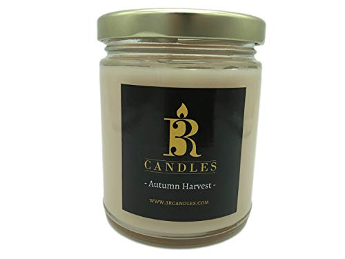 Autumn Harvest Scented Candle by 3R Candles - Soy/Paraffin Wax Glass jar - Fall Home Decor Gifts for Holiday & Christmas Season - Essential Autumn Gift Ideas