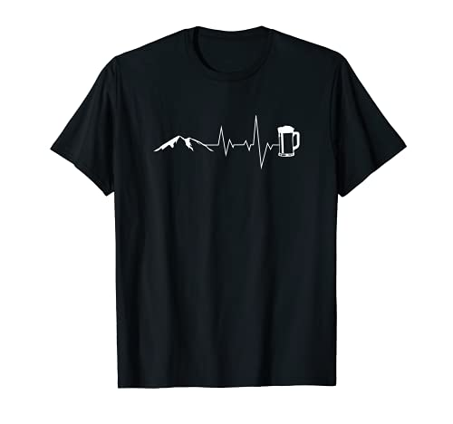 Herzschlag Berge und Bier - Lustiges Wandern Bergsteigen T-Shirt