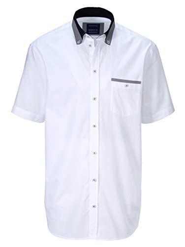 BABISTA Herren-Hemd – Kurzarm-Hemd aus Reiner Baumwolle, Oberhemd mit feiner Struktur, Sportives Freizeit-Oberteil in Weiß, Gr. 39/40, Weiß, Gr. 47/48