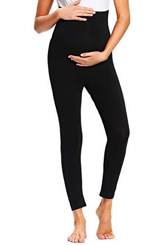 JMITHA Casual Leggings Donna Premaman, Estivi Lunghi Pantacollant Gravidanza Basic Pantaloni Coprenti Morbido Cotone Elasticizzato Collant Pantaloni Premaman (Nero, M)