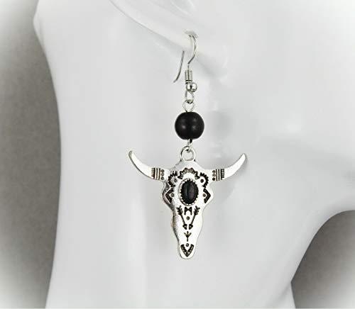 Silver Bull Skull Earrings For Women Set Dangle Lightweight 2 3/8' Black Steer Horn Cow