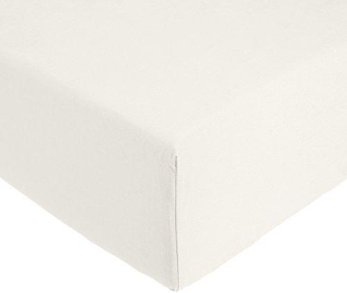 AmazonBasics Everyday - Sábana bajera ajustable (100% algodón) Marfil - 150 x 200 x 30 cm