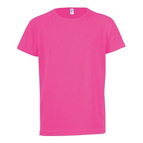 Sols Kinder Unisex T-Shirt Sporty, Kurzarm (10 Jahre (140)) (Neon Pink)