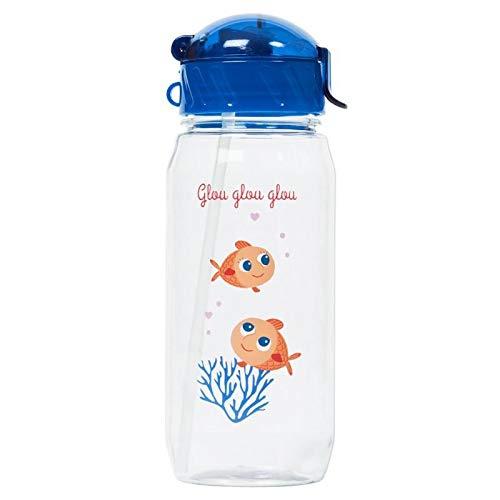 Draeger – Botella para niños pequeños peces rojos – Botella reutilizable ilustrada – Botella infantil con pajita – Sin BPA – apta para lavavajillas