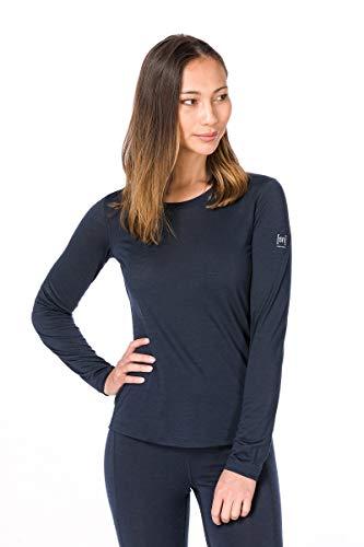 Super.natural Tee-shirt Manches Longues pour Femmes, Laine mérinos, W BASE LS 140, Taille: XS, Couleur: Bleu foncé