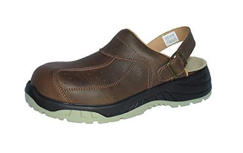 EuroRoutier Premium Full Leather Brown, Zuecos Zapato de Seguridad SB+A+E+FO+SRC (46 EU)