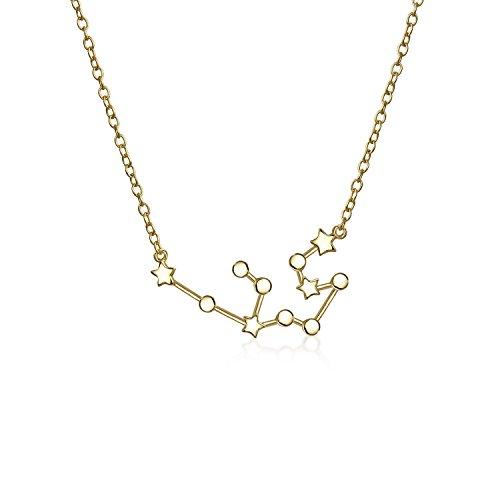 Astro Astrologie Sternzeichen Wassermann Sternbild Sterne Kette Mit Anhänger Für Damen 14 Kt Vergoldet Sterling Silber