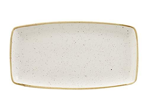 Churchill 375008 Stonecast - Plato rectangular de porcelana, color blanco, 35 x 18,5 cm