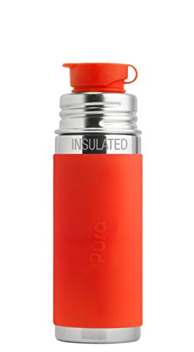 Pura Sport 9 oz / 260 ml Stainless Steel Insulated Kids Sport Bottle with Silicone Sport Flip Cap & Sleeve, Orange (Plastic Free, Nontoxic Certified, BPA Free)