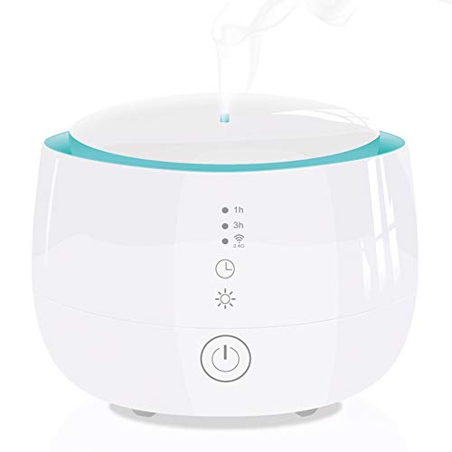 Difusor de Aceites Esenciales 300ml Humidificador Aromaterapia Ultrasónico Soporte APP y Amazon Alexa Google Home Smart Voice 7-Color LED Luces 4 Ajustes de Tiempo Auto-Apagado, Blanco