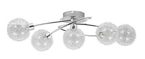 Trango 5-flammig Deckenleuchte TG1002-58 Chromoptik incl. 5x G9 LED Leuchtmittel 3.000K warmweiße Lichtfarbe Badleuchte, Flurleuchte, Küchenleuchte, Kronleuchter, Deckenlampe