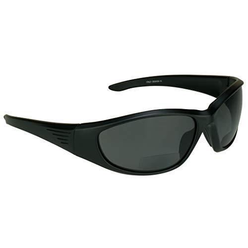 proSPORT Polarized Bifocal Sunglasses Readers for Men Women Full Sport Wrap Frame Fishing Boating Beach Matte Black Smoke +2.00 Anti Glare Lenses