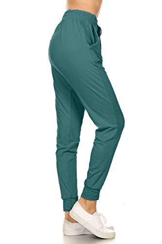 Leggings Depot JGA128-TEAL-M Solid Jogger Track Pants w/Pockets, Medium