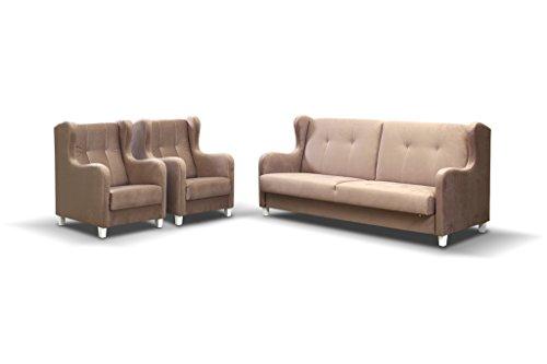 Bankstellen 3+1+1 (3-zitsbank, twee fauteuils) voor woonkamer, slaapbank, sofa met slaapfunctie en opbergruimte, moderne bank - HENRY (Bruin)