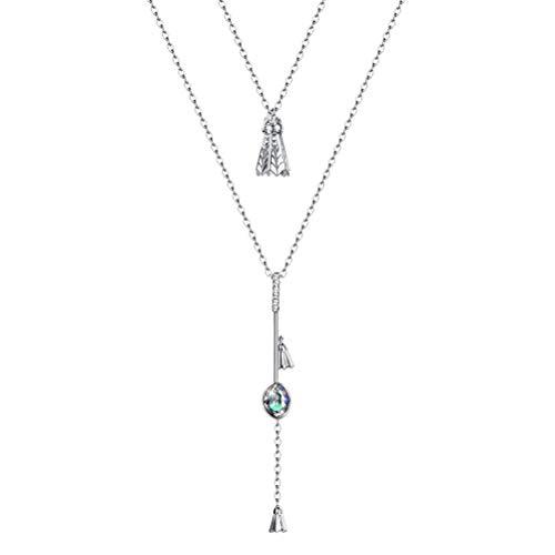 BESTOYARD S925 Sterling Silber Halskette Fashion Doppelschicht Kette Badminton Geformt Anhänger Halskette (SVN314)