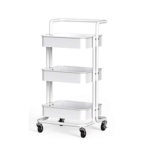 SimplicityNSYNSY Carrito de 3 niveles, carrito rodante, carritos utilitarios con ruedas, ruedas de bloqueo para cocina, garaje, dormitorio, baño (color: marfil)