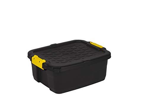 Robuste Transport- und Lagerbox 'TOUGH' in Schwarz mit gelben Clips. Nutzvolumen von ca. 24 Liter. Stapelbar und nestbar. Maße BxTxH in cm: 50 x 40 x 20
