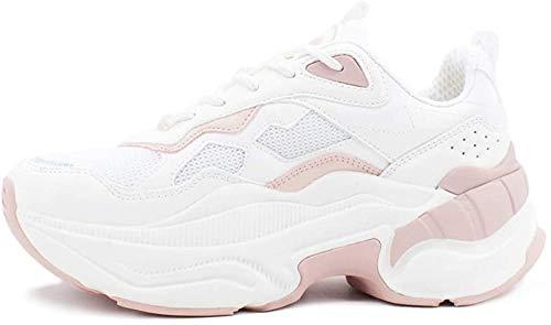 Buffalo Damen Sneaker Crevis P1, Frauen Low-Top Sneaker, sportschuh Plateau-Sohle weiblich Lady Ladies feminin elegant Women,Cream/Rose,41 EU / 7 UK