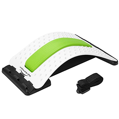 wooden back stretchers Back Stretcher - Lower and Upper Back Pain Relief, Lumbar Stretching Device,Posture Corrector - Back Support for Office Chair | Get Muscle Tension (White/Green)