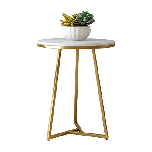 LSX salontafel, kleine salontafel, bijzettafel, rond, minimalistisch, modern, smeedijzer, marmer, woonkamer, hoektafel, goudkleurig, balkon, rond, kleine bijzettafel