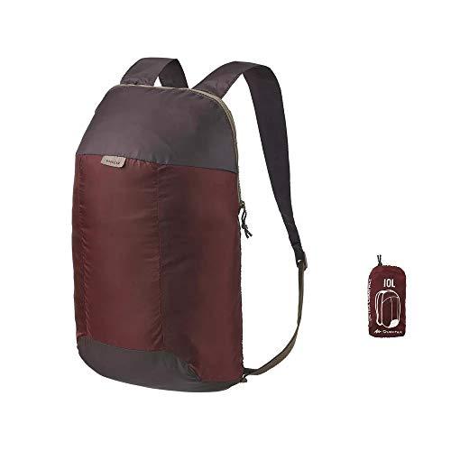 QUECHUA, zainetto da escursionismo/zaino per festival all\'aperto, comoda borsa da viaggio ultra pieghevole, compatta, 10litri, Mahogany Brown