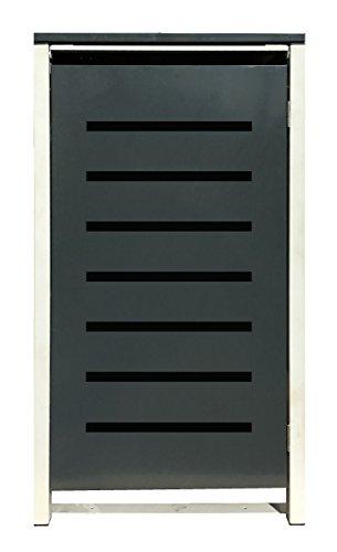 BBT@ | Hochwertige Mülltonnenbox für 3 Tonnen je 240 Liter mit Klappdeckel in Grau / Aus stabilem pulver-beschichtetem Metall / Stanzung 6 / In verschiedenen Farben sowie mit unterschiedlichen Blech-Stanzungen erhältlich / Mülltonnenverkleidung Müllboxen Müllcontainer - 8