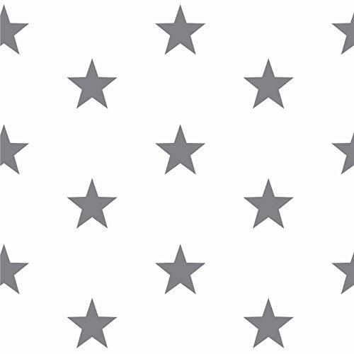babrause® Baumwollstoff Sterne Weiß Grau Webware Meterware Popeline OEKOTEX 150cm breit - Ab 0,5 Meter