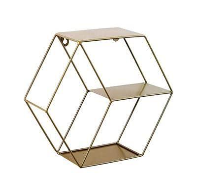 Sechseck-Wandregal, geometrische Metall-Floating-Regale-Regale-Wandhalterung hängendes Regal Sechskant-Gewürz-Rack für Küchen, Wohnzimmer, Schlafzimmer,Copper