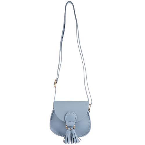 Amosfun Mini bolso de hombro con borla, bolsa cruzada para niños y niñas, bolso al aire libre, bolsa de cumpleaños Presen (blanco)