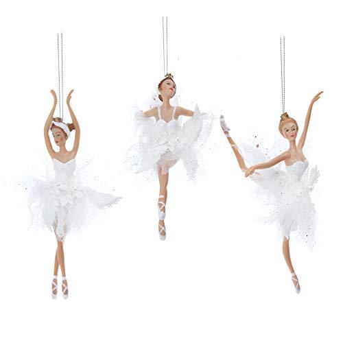 Gisela Graham White Iridescent Resin And Fabric 19 Centimetro Snow Ballerina Fairies con Abito in Tulle Set di 3 Pezzi