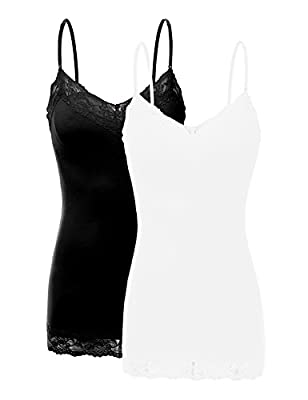 XT1004L Pack Ladies Adjustable Spaghetti Strap Lace Trim Cami Tank Top 2Pack-BLK/White 2XL from