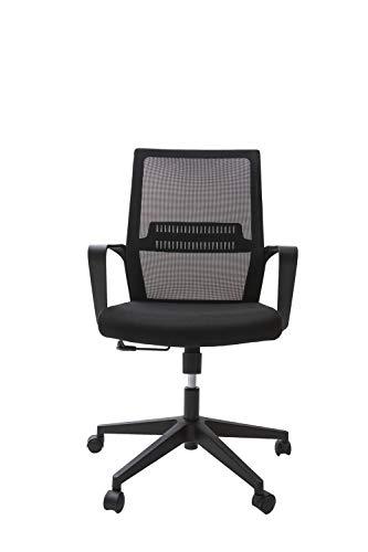 Alcapala Modelo Lisboa - Silla de Oficina con apoyabrazos, Altura Ajustable, reclinable, Soporte para la Espalda y Ruedas 360º, Color Negro