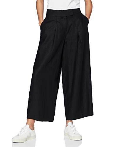 Amazon-Marke: find. Damen Weite Anzughose, Schwarz, 40, Label: L