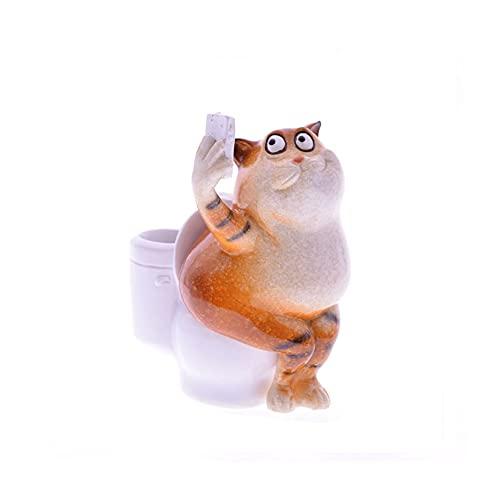 XJTJSM Kawaii Animal Artificial Resina Cat En WC Toma Ducha Inffie Figurines Decoraciones de la habitación (Color : Cat 3)