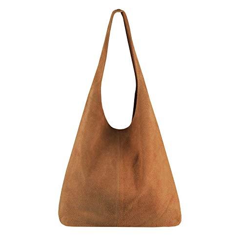 OBC Made in Italy Damen Leder Tasche Handtasche Wildleder Shopper Schultertasche Hobo-Bag Henkeltasche Beuteltasche Velourleder (Cognac (Wildleder))