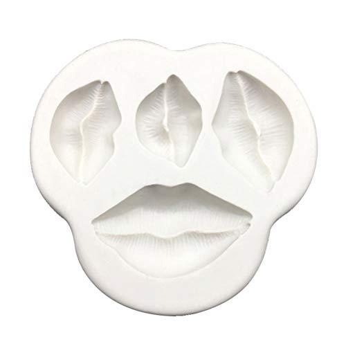 KESYOO Silikon Kuchenform Lippen Fondantform Schokolade Keks Cupcake Dekorationswerkzeuge (Grau Weiß)