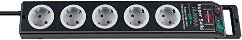 Brennenstuhl Super-Solid, Steckdosenleiste 5-fach mit Überspannungsschutz (2,5m Kabel und Schalter - aus bruchfestem Polycarbonat) schwarz/grau
